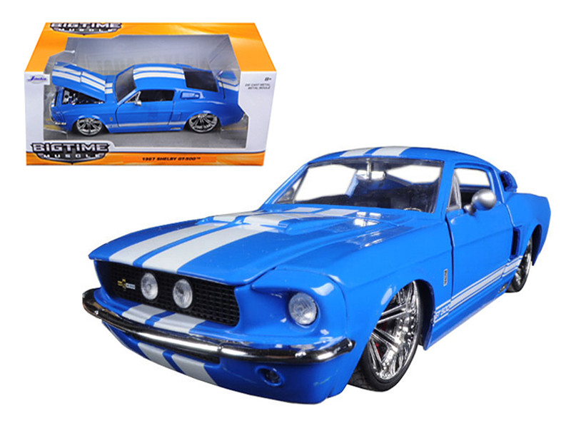 1967 Ford Shelby Mustang GT-500 Blue with White Stripes 1/24 Diecast Model Car Jada 97401