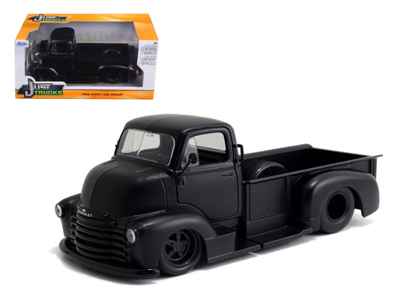 1952 Chevrolet COE Pickup Truck Matt Black 1/24 Diecast Model Jada 97461
