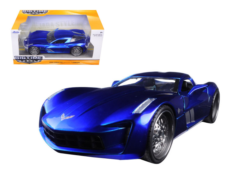 2009 Chevrolet Corvette Stingray Concept Blue 1/24 Diecast Model Car Jada 97468