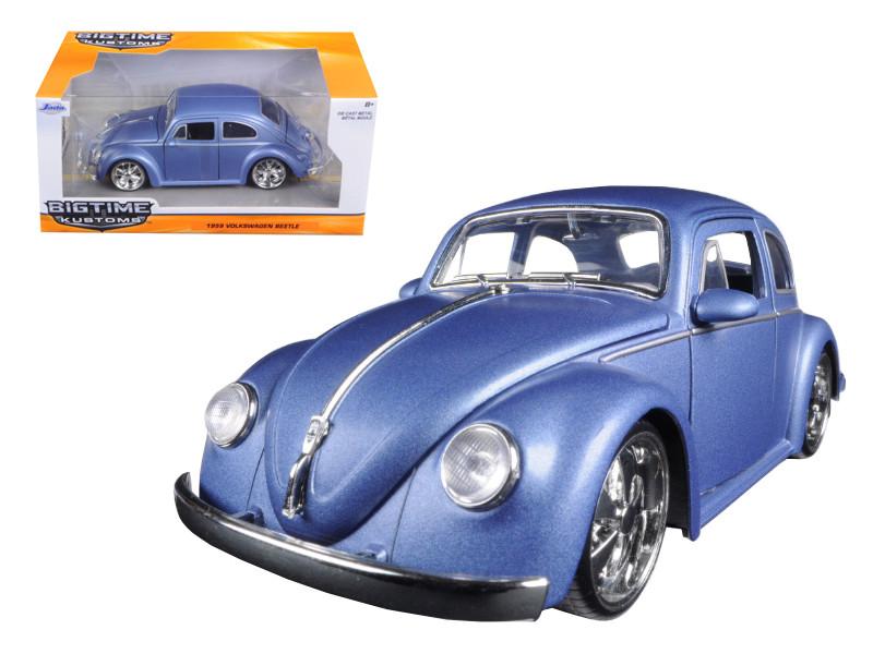 1959 Volkswagen Beetle Satin Metallic Blue with 5 Spoke Wheels 1/24 Diecast Model Car Jada 97489