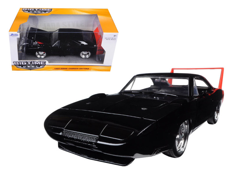 1969 Dodge Charger Daytona Black 1/24 Diecast Model Car Jada 97681