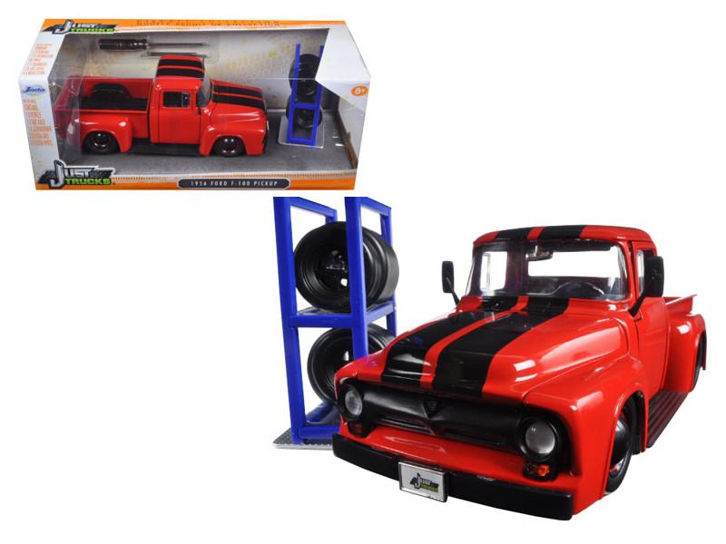"1956 Ford F-100 Red Pickup Truck ""Just Trucks"" with Extra Wheels 1/24 Diecast Model Jada 97684"