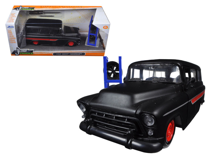 "1957 Chevrolet Suburban Matt Black / Red ""Just Trucks"" with Extra Wheels 1/24 Diecast Model Car Jada 97686"