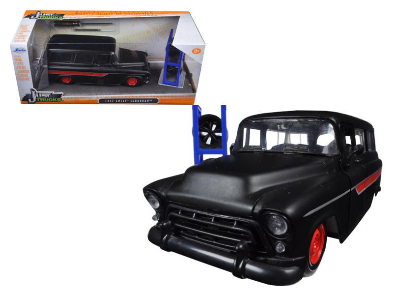 "1957 Chevrolet Suburban Matt Black / Red ""Just Trucks"" with Extra Wheels 1/24 Diecast Model Car Jada 97686"