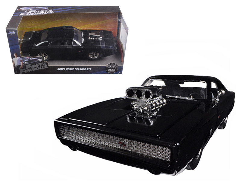 "Dom's 1970 Dodge Charger R/T Black ""Fast & Furious 7"" Movie 1/24 Diecast Model Car Jada 97059"