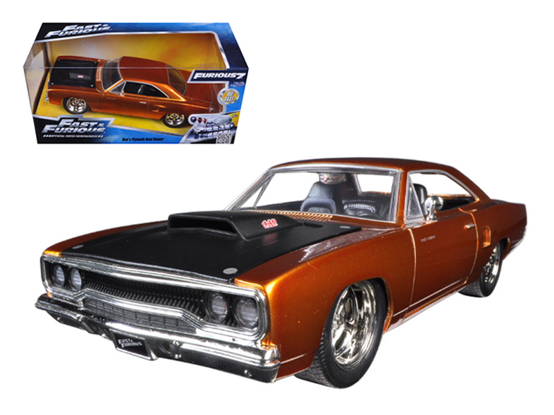 """Dom's 1970 Plymouth Road Runner Copper """"Fast & Furious 7"""" Movie 1/24 Diecast Model Car Jada 97126"""
