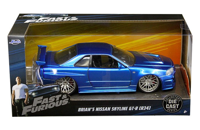 "Brian's Nissan GTR Skyline R34 Blue ""Fast & Furious"" Movie 1/24 Diecast Model Car Jada 97173"