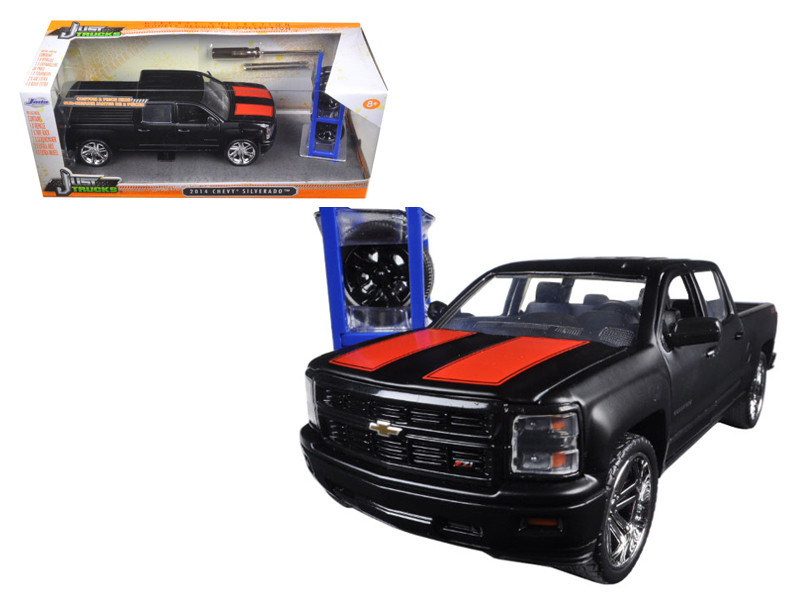"2014 Chevrolet Silverado Pickup Truck Matt Black ""Just Trucks"" with Extra Wheels 1/24 Diecast Model Jada 97690"