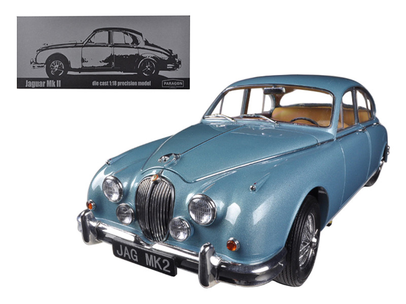 1962 Jaguar Mark 2 3.8 Opalescent Blue Limited to 3000pc 1/18 Diecast Car Model Paragon 98321