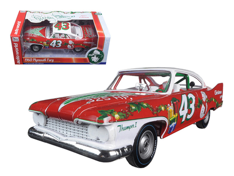 Richard Petty 1960 Plymouth Fury #43 2015 Christmas Edition Limited to 1250pc 1/24 Diecast Model Car by Autoworld