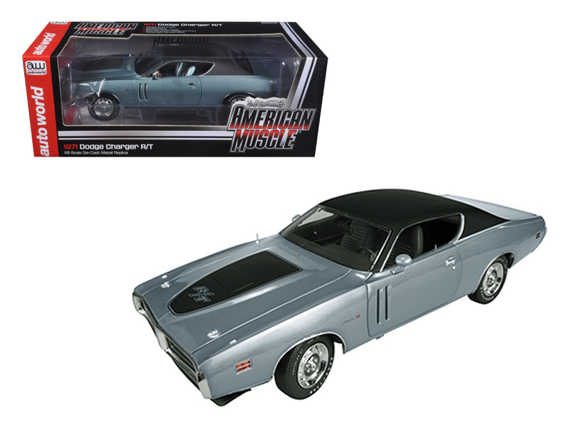 1971 Dodge Charger R/T Hemi (GA4) Gunmetal Grey Limited to 1250pc 1/18 Diecast Model Car Autoworld AMM974