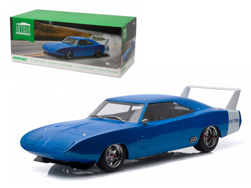 1969 Dodge Charger Daytona Custom Blue with White Rear Wing 1/18 Diecast Model Car Greenlight 19019