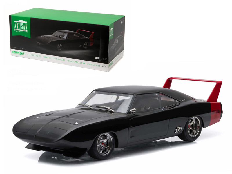 1969 Dodge Charger Daytona Custom Black with Red Rear Wing 1/18 Diecast Model Car Greenlight 19020