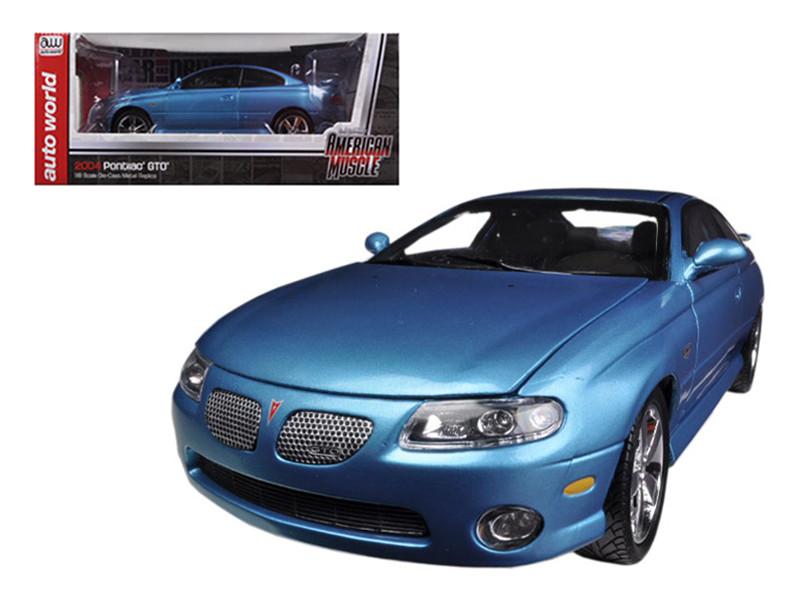 "2004 Pontiac GTO Blue ""Car & Driver"" Bermuda Blue With Black Interior Limited to 1250pc Worldwide 1/18 Diecast Model Car Autoworld AMM1025"