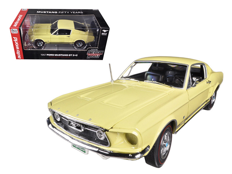 1967 Ford Mustang 2+2 GT Aspen Gold Limited to 1250pc 50th Anniversary 1/18 Diecast Car Model Autoworld AMM1038