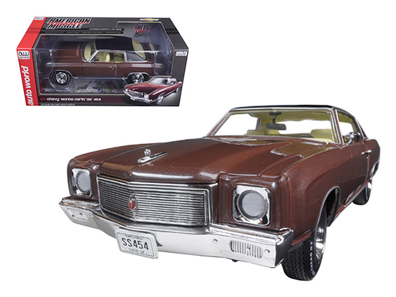 1971 Chevrolet Monte Carlo SS 454 Rosewood Metallic Limited Edition to 1002pcs 1/18 Diecast Model Car Autoworld AMM1055