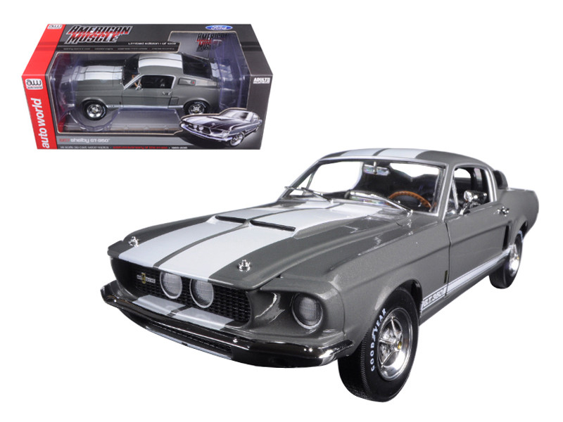 1967 Ford Shelby Mustang GT-350 Medium Gray Metallic 50th Anniversary Limited Edition to 1002pc 1/18 Diecast Model Car Autoworld AMM1060