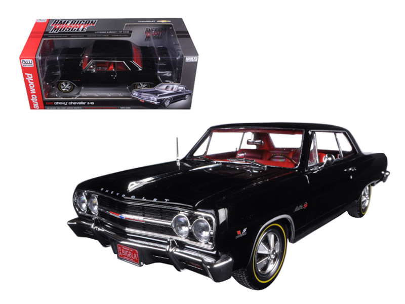 1965 Chevrolet Chevelle SS 396 Z-16 Black 50th Engine Anniversary Limited Edition to 1002pcs 1/18 Diecast Model Car Autoworld AMM1061