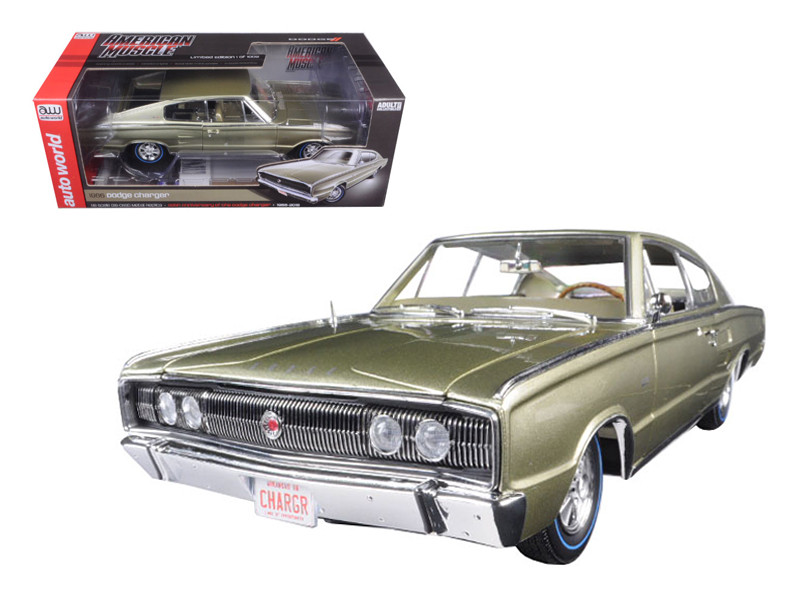 1966 Dodge Charger Hemi 426 Citron Gold Metallic 50th Anniversary Limited Edition to 1002pcs 1/18 Diecast Model Car Autoworld AMM1067