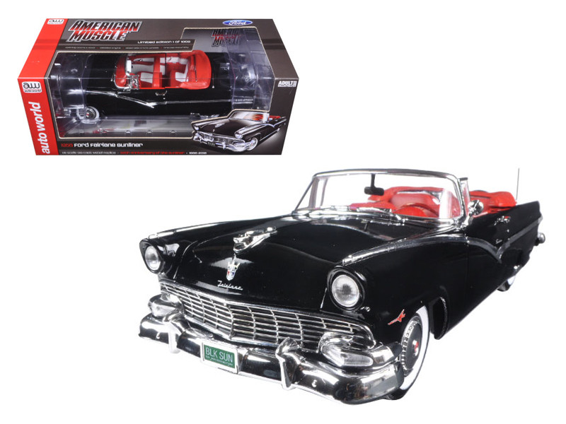 1956 Ford Sunliner 60th Anniversary Black Limited Edition to 1002pcs 1/18 Diecast Model Car Autoworld AMM1072