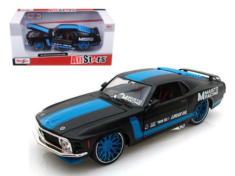 """1970 Ford Mustang Boss 302 """"All Stars"""" Black 1/24 Diecast Model Car Maisto 31329"""