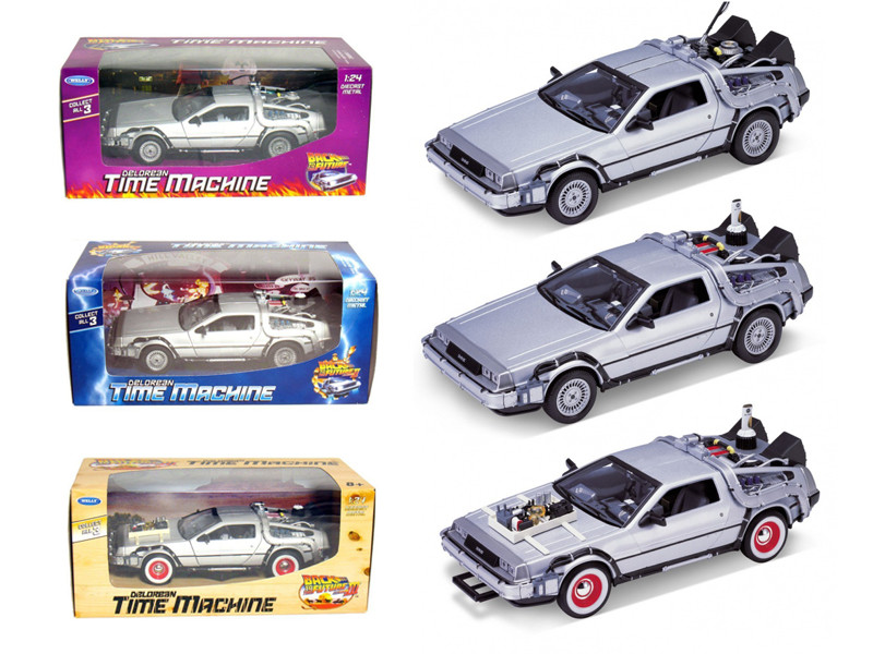 "Collect All 3pc Set Delorean Time Machine Trilogy Set ""Back To The Future 1,2,3"" 1/24 Welly 3PCSET"