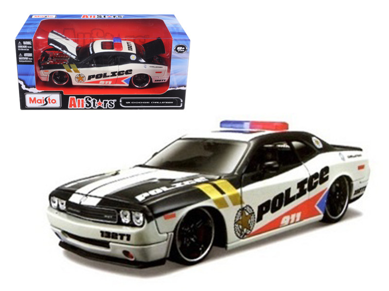 2010 Dodge Challenger Police White Custom 1/24 Diecast Model Car Maisto 31342