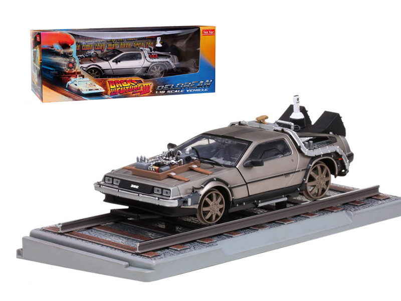 "Delorean From Movie ""Back To The Future 3"" Railroad Time Machine 1/18 Diecast Model Car Sunstar 2714"