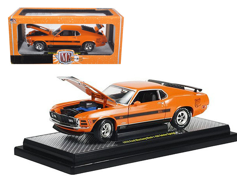 """1970 Ford Mustang Mach 1 428 """"Twister Special"""" Grabber Orange 1/24 Diecast Model Car M2 Machines 40300-36A-01"""