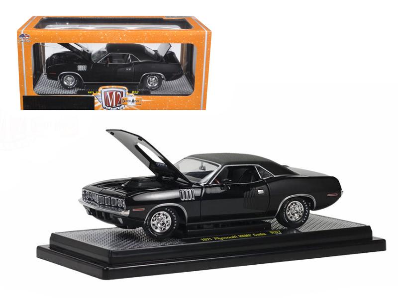 1971 Plymouth Cuda Hemi Black with Black Vinyl Roof 1/24 Diecast Model Car M2 Machines 40300-37D