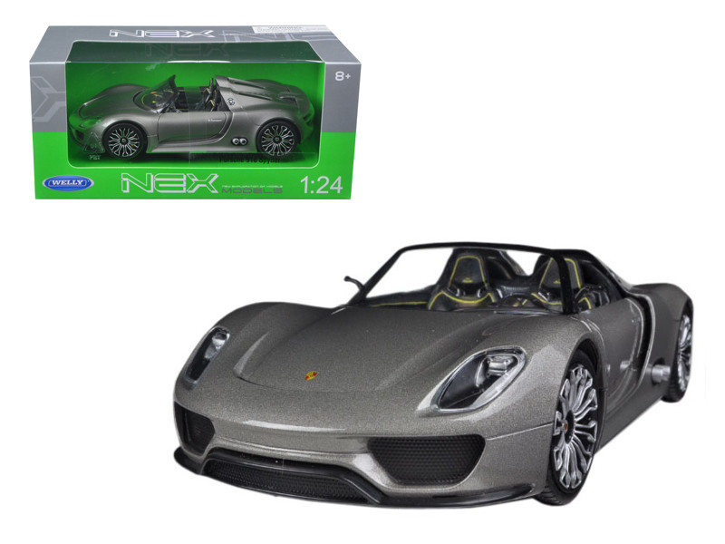 Porsche 918 Spyder Grey 1/24 Diecast Model Car Welly 24031