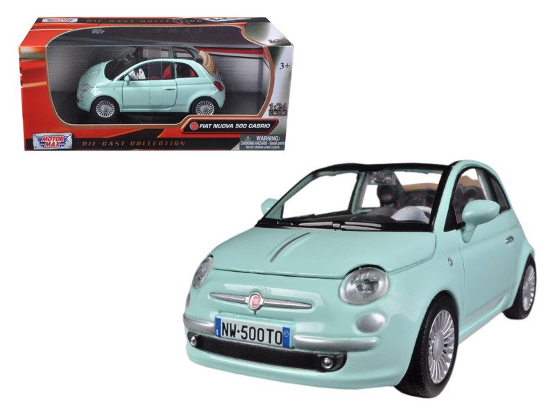 Fiat 500 Nuova Cabrio Green 1/24 Diecast Car Model Motormax 73374