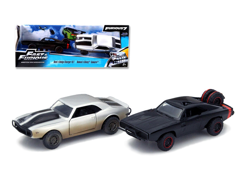 """Dom's 1970 Dodge Charger R/T Off Road and Roman's Chevrolet Camaro Z/28 """"Fast & Furious 7"""" Movie Set of 2 Cars 1/32 Diecast Model Cars Jada 97163"""