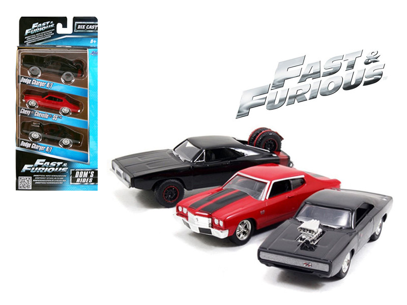 """Fast and Furious"" Dom's Rides Chargers and Chevelle 3 Pack Set 1/55 Diecast Model Cars Jada 97426"