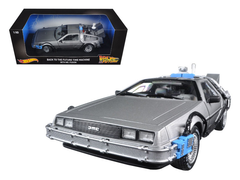 Back To The Future Time Machine Delorean with Mr. Fusion 1/18 Diecast Model Car Hotwheels CMC98
