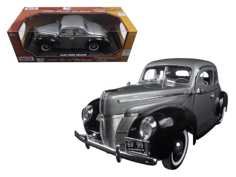 "1940 Ford Deluxe Grey with Black ""Timeless Classics"" 1/18 Diecast Model Car Motormax 73108"