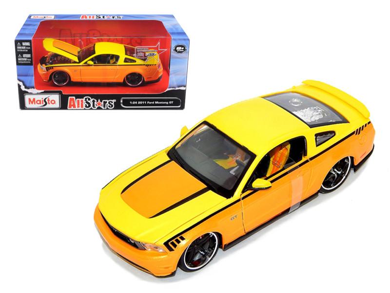 2011 Ford Mustang GT Orange Custom 1/24 Diecast Model Car Maisto 31361