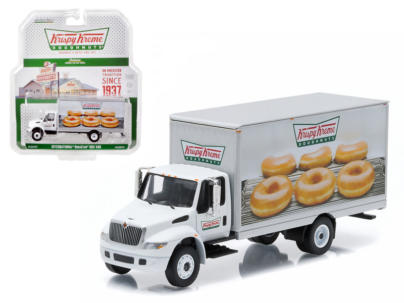 2013 International Durastar Box Van Krispy Kreme Donuts Delivery Truck HD Trucks Series 4 1/64 Diecast Model Greenlight 33040 B