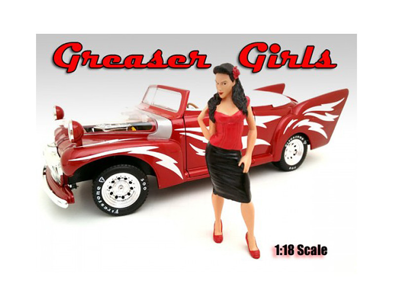 Greaser Girl Amandita Figure For 1:18 Scale Model Cars by American Diorama