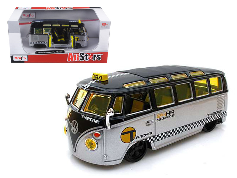 Volkswagen Samba Van/Bus Taxi Silver/Black 1/25 Diecast Model Car by Maisto