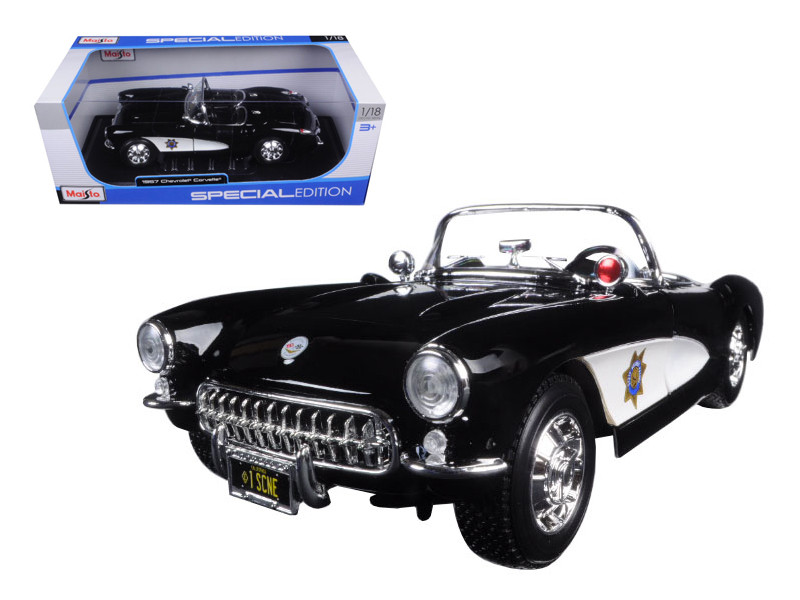 1957 Chevrolet Corvette Highway Patrol 1/18 Diecast Model Car Maisto 31380