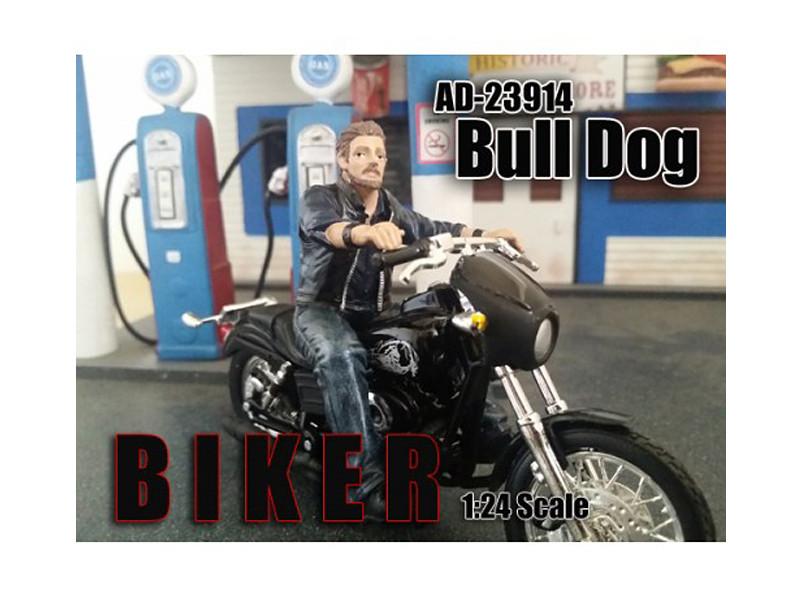 Biker Bull Dog Figure For 1:24 Scale Models American Diorama 23914