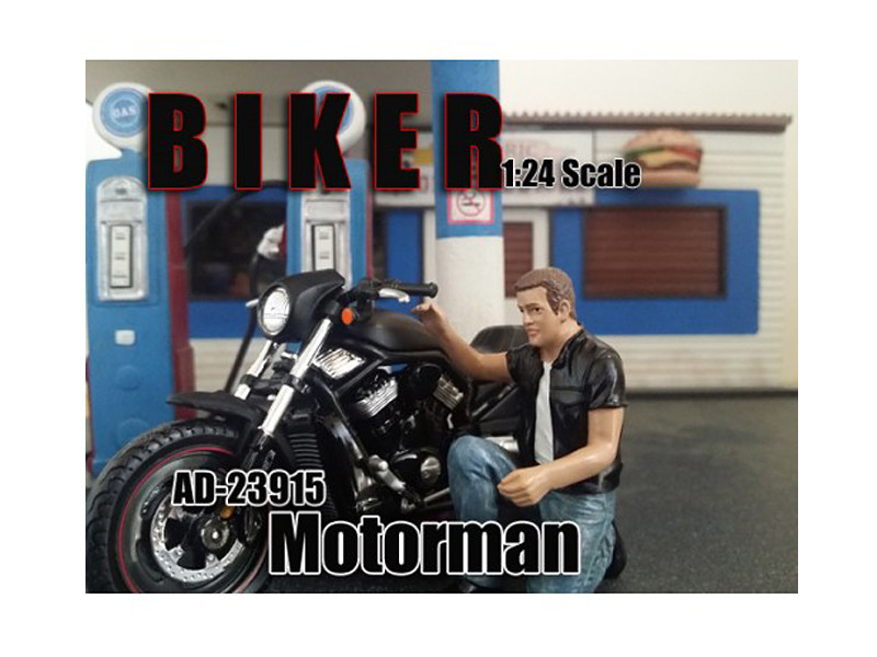 Biker Motorman Figure For 1:24 Scale Models by American Diorama