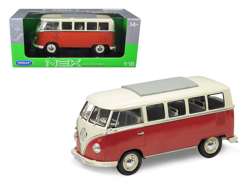 1963 Volkswagen Microbus T1 Bus Red 1/18 Diecast Model Car Welly 12531