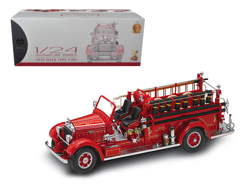 1935 Mack Type 75BX Fire Truck Red with Accessories 1/24 Diecast Model Car Road Signature 20098