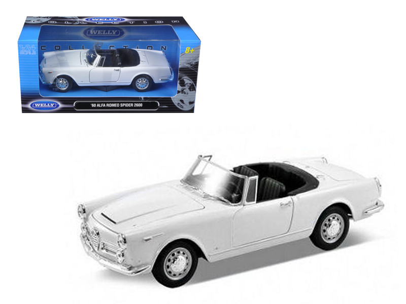 1960 Alfa Romeo Spider 2600 Convertible White 1/24 Diecast Car Model by Welly