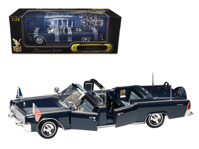 1961 Lincoln X-100 Kennedy Limousine Blue with Flags 1/24 Diecast Model Car Road Signature 24048