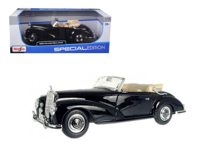 1955 Mercedes 300S Cabriolet Black 1/18 Diecast Car Model Maisto 31806