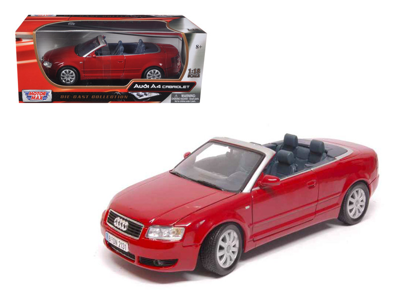 Audi A4 Red Convertible 1/18 Diecast Model Car Motormax 73148