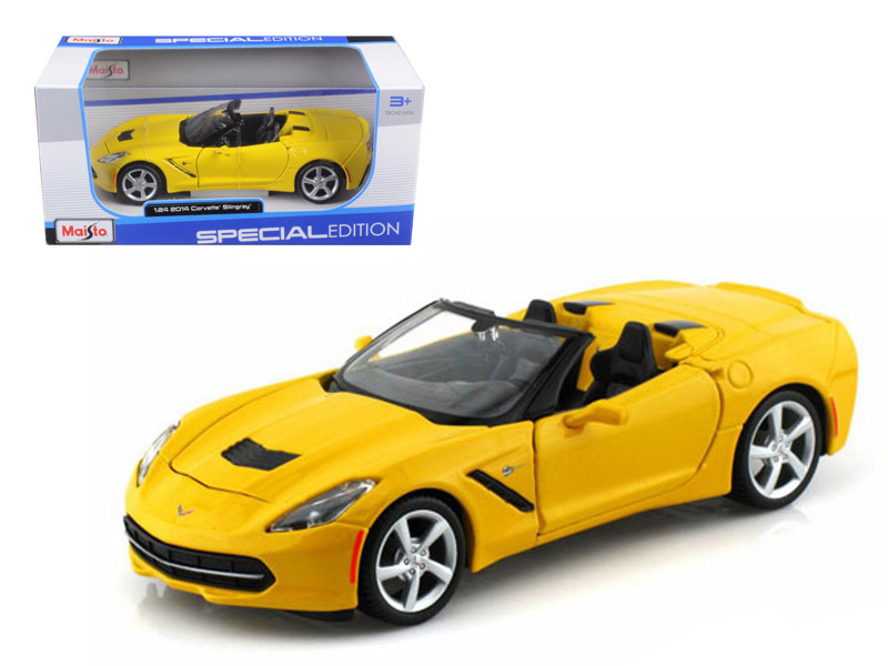 2014 Chevrolet Corvette C7 Convertible Yellow 1/24 Diecast Model Car Maisto 31501